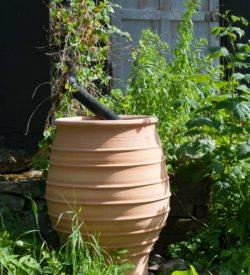 Vattentunna, regnvattentunna av keramik. Bättre än trätunnor och plasttunnor. Regnvattentunnan är av frosttålig terrakotta från Medelhavskeramik.
