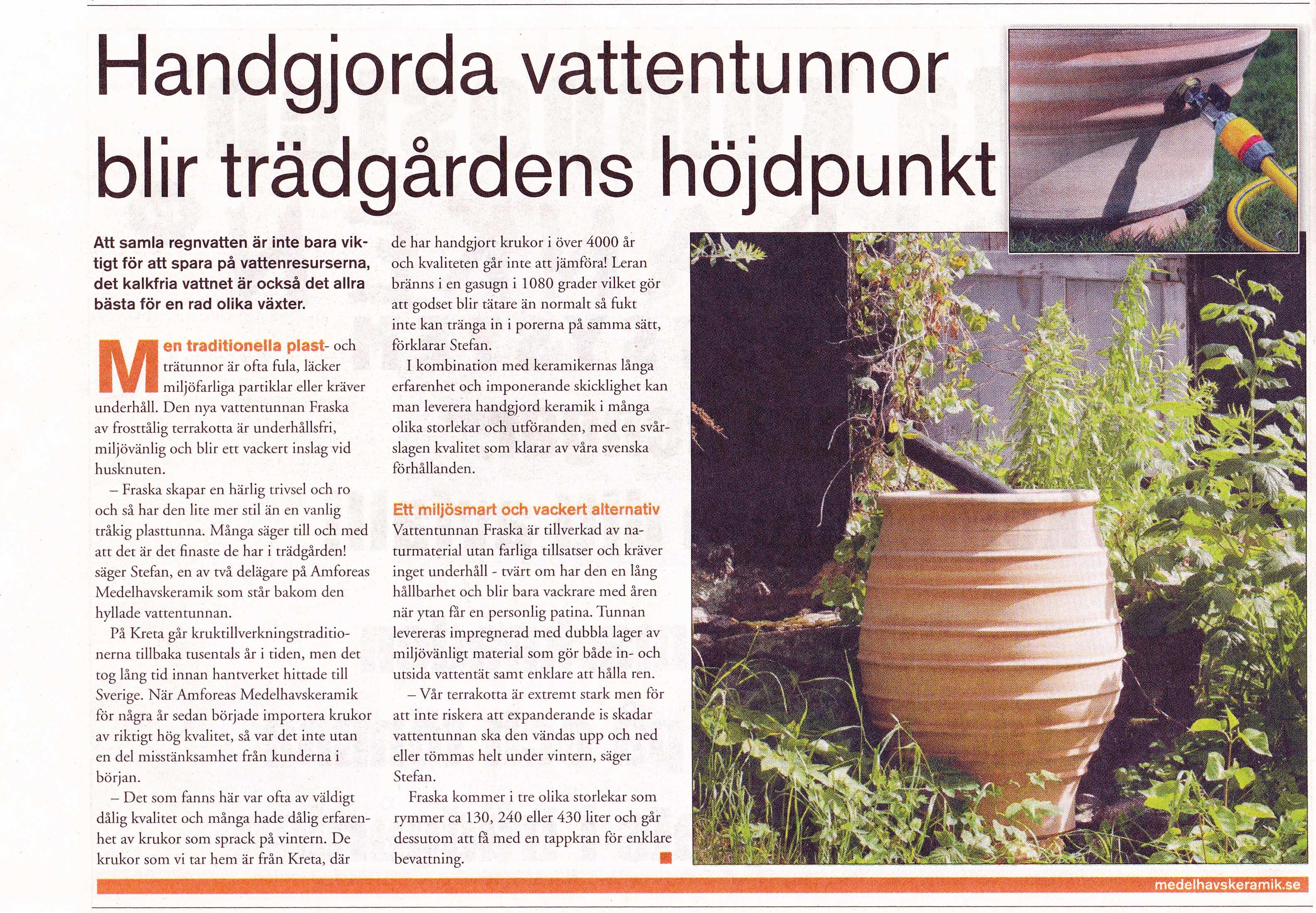 Reportage om Amforeas Medelhavskeramiks vattentunna Fraska i Expressens bilaga Hus & Trädgård, juni 2017