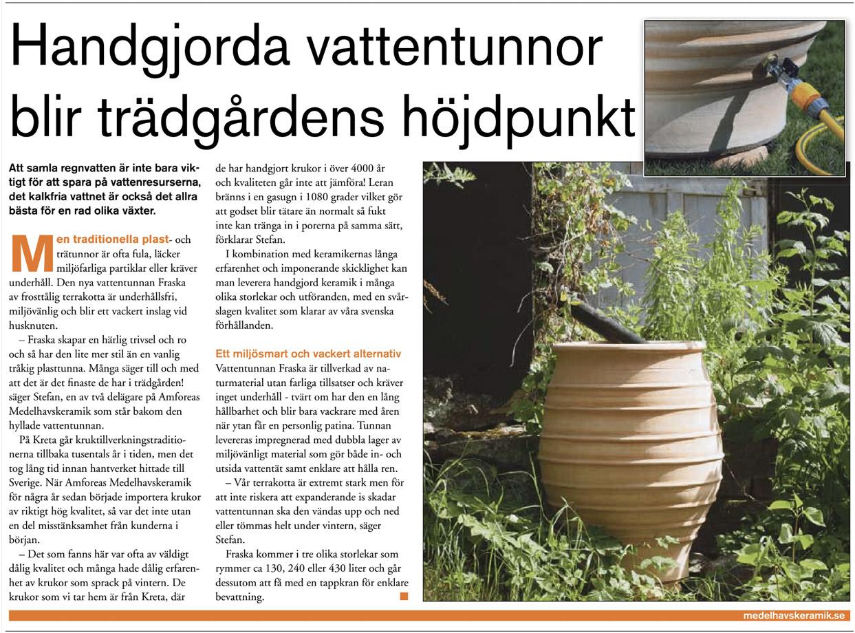 Reportage om regnvattentunnan Fraska i Aftonbladet